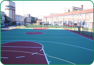 Completed basketball court construction